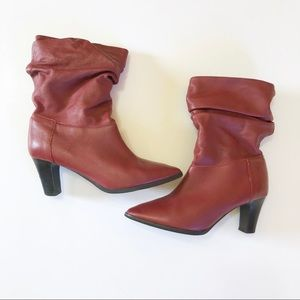 Adrianna Papell Red Leather Slouch Heeled Boots